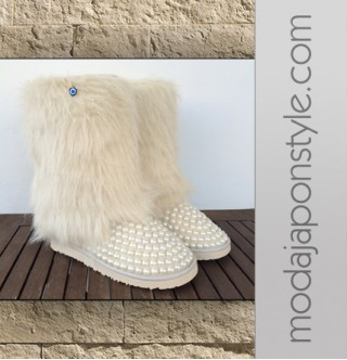 Japon Style Ugg Bot İncili ve Kürklü Model