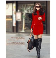 Japon Style Long Winter Zipper Elbise